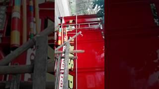 Pemasangan sticker skotlet variasi red Truck Canter Mitsubishi Cutting Sticker - Dwi Art Team