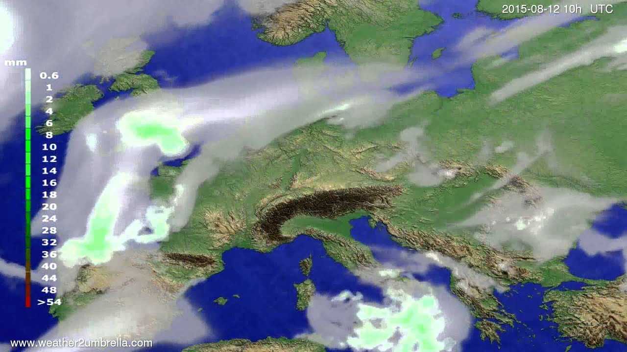 Precipitation forecast Europe 2015-08-08