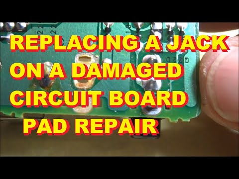 Replacing a jack on a circuit board when the copper pads are missing