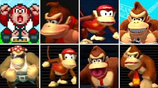 All of the Kong characters throughout the 8 console based Mario Kart titles from 1992 to 2017.  This includes the following characters: Donkey Kong Jr., Donky Kong, Diddy Kong and Funky Kong.Mario Kart Compilations Playlist:https://www.youtube.com/playlist?list=PLYpDU5ElRBfk6j5TRumX844YrXbpMZOXO