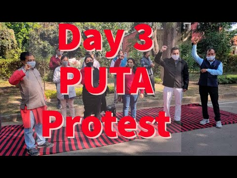 PUTA DAY 3 Protest against VC decision to cancel the meetings of CAS promotions : Dr Naura