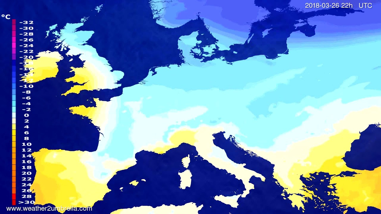 Temperature forecast Europe 2018-03-24