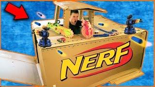 NERF BOX FORT CHALLENGE!!! Electricity, Working Doors & More! Nerf Gun Battle Base (NERF)