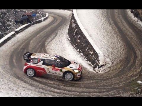 wrc di montecarlo 2013 - stupenda curva sulla neve di sebastien loeb