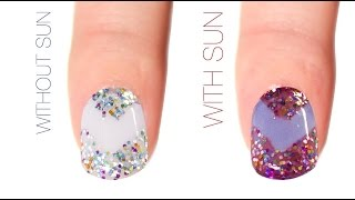 Chevron Color-Changing Nail Art Design