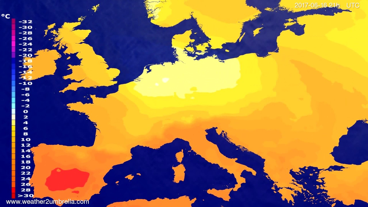 Temperature forecast Europe 2017-06-13
