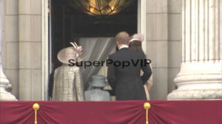 Queen Elizabeth II, Camilla, Duchess of Cornwall, Prince Charles, Prince of Wales, Catherine, Duchess of Cambridge,  Prince William, Duke of Cambridge and Prince Harry at Diamond Jubilee - Carriage Procession And Balcony Appearance Queen Elizabeth II, Camilla, Duchess of Cornwall,  on June 05, 2012 in London, England Thanks for watching this video!Video Credit: Getty Images