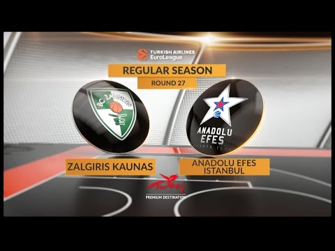 EuroLeague Highlights RS Round 27: Zalgiris Kaunas 68-76 Anadolu Efes Istanbul