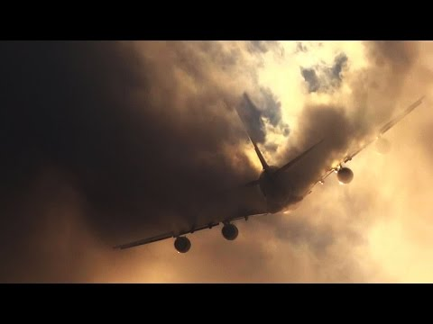 An Airbus A380 Cuts a Cloud in Half