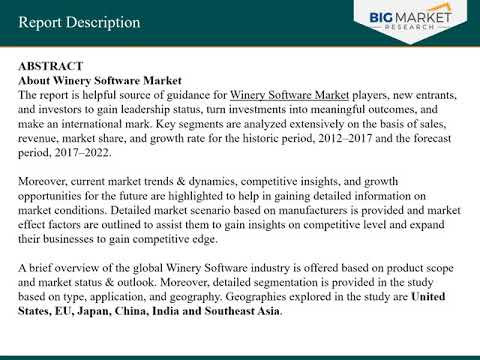 Global Winery Software Market Analysis, Industry Research, Size, Status and Forecast 2022