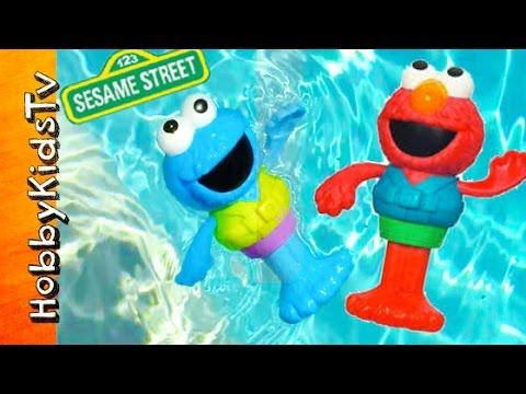 Cookie Monster + Elmo Swimmers! Pool Dives, Race, Sesame Street Toys by HobbyKidsTV