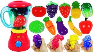Microwave Blender Toys Cutting Fruits Vegetables Playset  Learn Colors Nursery Rhymes for Kids