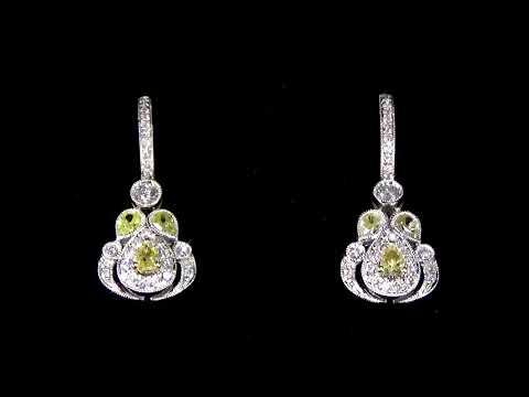 女裝18K白/黃金彩黃鑽石耳環
