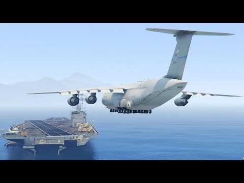 GTA 5 - Landing C5 Super Galaxy ON THE AIRCRAFT CARRIER (GTA 5 Funny Moments)