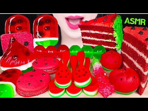 ASMR WATERMELON DESSERTS *EDIBLE SPOON, WATERMELON CAKE, ROCK CANDY, JELLY 수박 디저트 먹방 EATING SOUNDS