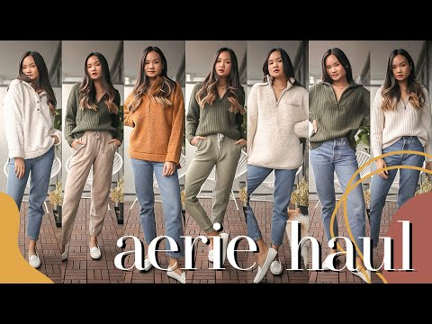 NEW IN AERIE FALL UNBOXING HAUL - Review & Try On | Victoria Hui