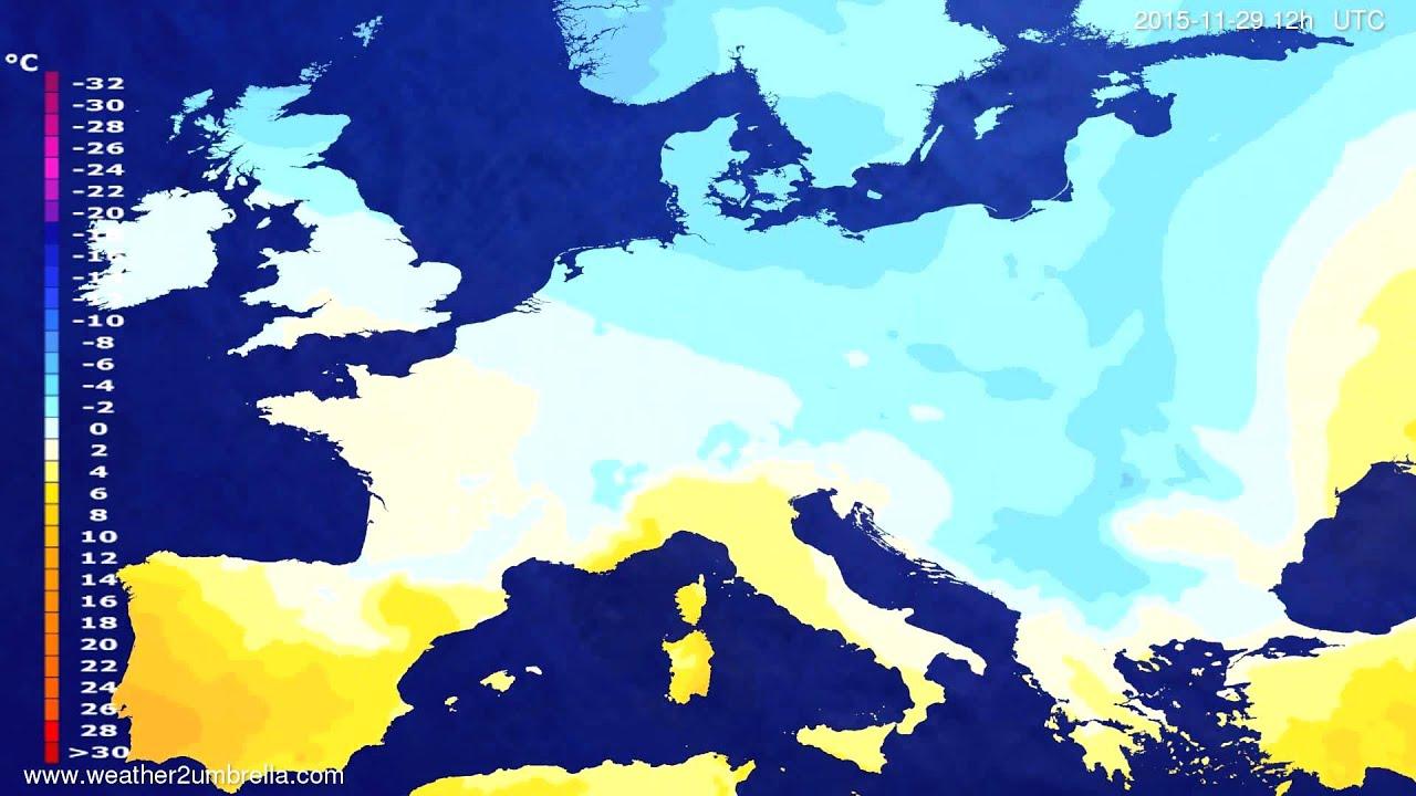 Temperature forecast Europe 2015-11-25