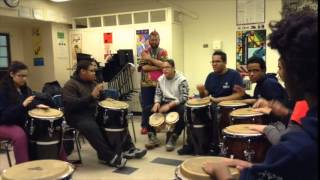 Teaching West African drumming to High School students 2
