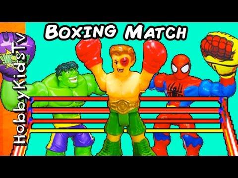 Big BOXING Match SPIDERMAN + Hulk! Imaginext Boxers Hosts Batman, Superman by HobbyKidsTV