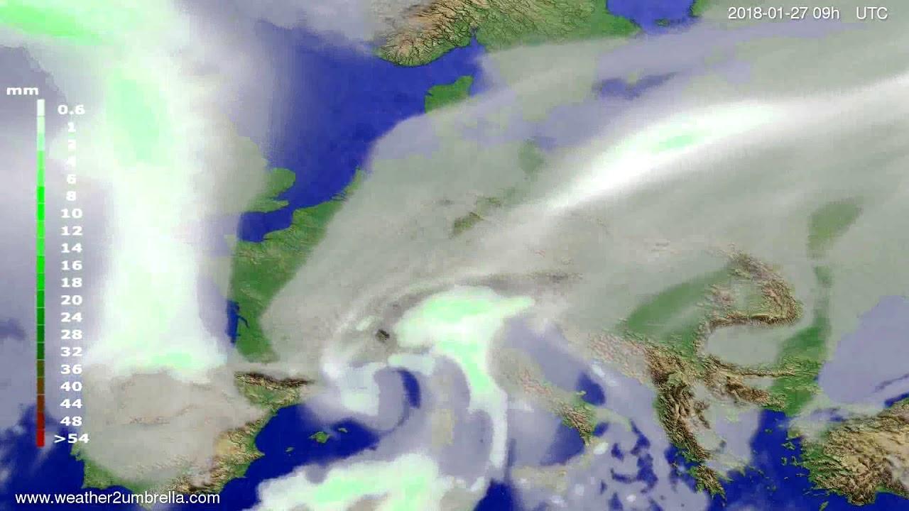 Precipitation forecast Europe 2018-01-23