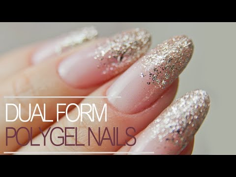 How to Use Dual Forms  Easiest PolyGel Nails with Glitter Fade