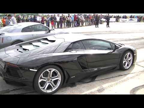 aventador lp700-4 vs nissan gtr 700 hp sfida all'ultimo sangue