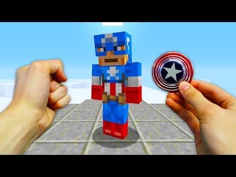 REALISTIC MINECRAFT - STEVE'S CAPTAIN AMERICA FIDGET SPINNER!