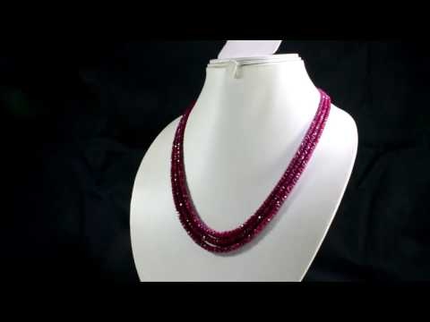 2/3/4/5/7 Multi Strands Natural Red Ruby 3mm Faceted Beads Gemstone Necklace