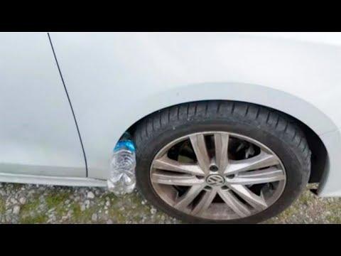 Se encontrar uma garrafa de plástico no pneu de seu carro, você pode estar em perigo!