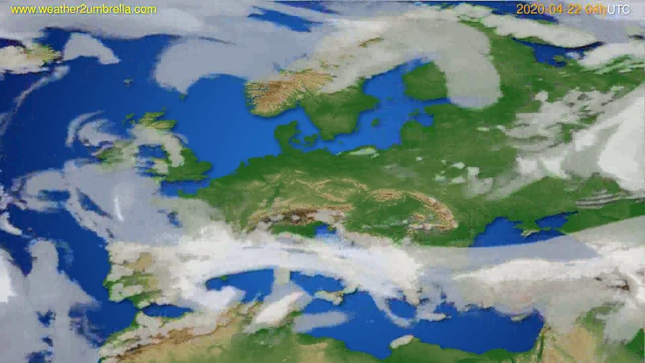Cloud forecast Europe // modelrun: 12h UTC 2020-04-21