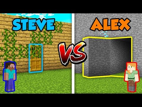 Minecraft ALEX vs. STEVE: SECRET DOOR in Minecraft!