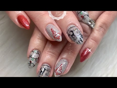 Christmas Gel Nails with Stamping/Madam Glam