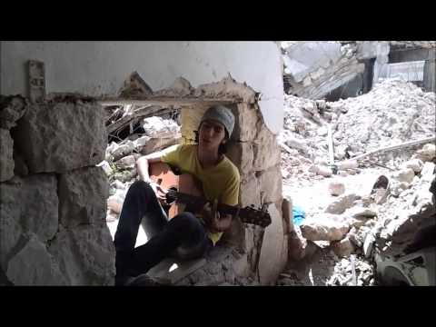 Syrian Teenager Playing Music under Shelling