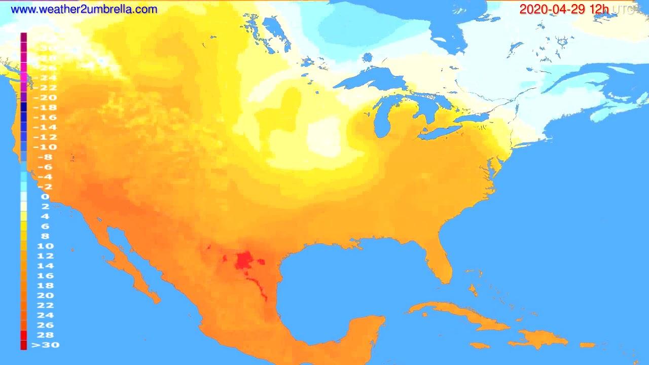 Temperature forecast USA & Canada // modelrun: 00h UTC 2020-04-29