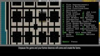 Dwarf Fortress Video Tutorial part 05 - Making Bedrooms, farms and stairs
