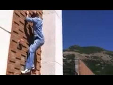 Climbing the science building at Weber State University