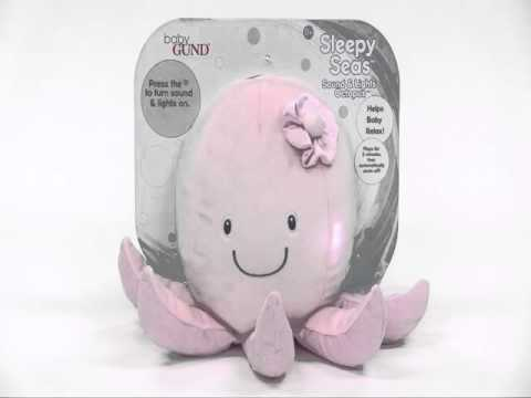 GUND Sleepy Seas Baby Safe Sound and Light Plush Pink Octopus
