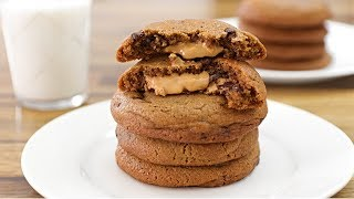 Peanut Butter Stuffed Chocolate Chip Cookies Recipe
