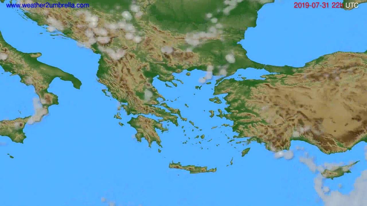 Cloud forecast Greece // modelrun: 00h UTC 2019-07-29