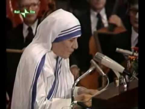 il discorso incredibile di madre teresa di calcutta contro l'aborto