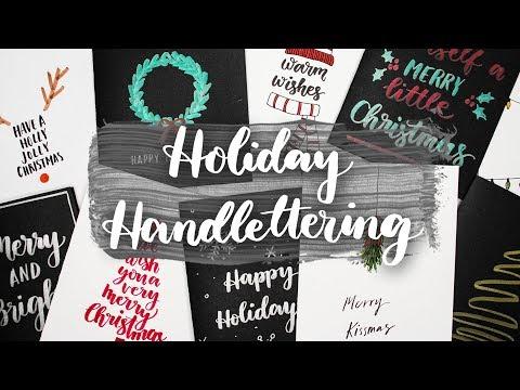 Holiday Hand Lettering | 10 Handmade Holiday Card Ideas! (видео)