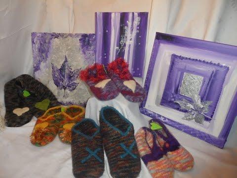 Hausschuhe- Pantoffeln stricken und filzen (mit 100% FILZWOLLE ! ) Größe 38-40 1/2