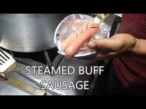 (Local Steam Buff Sausage in Street Food Stall - Food Nepal - Duration: 57 seconds.)