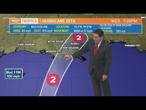Wednesday 4 am Tropical Update: Hurricane Zeta forecast to be Cat 2 at landfall
