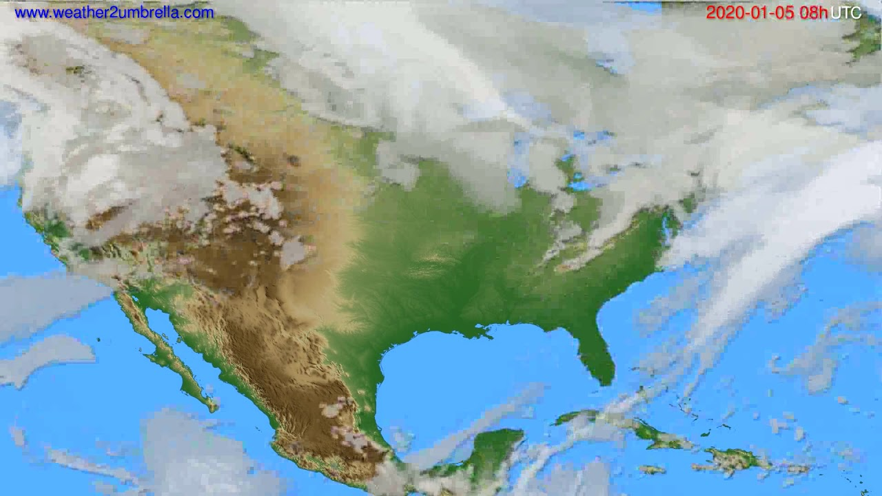 Cloud forecast USA & Canada // modelrun: 12h UTC 2020-01-04