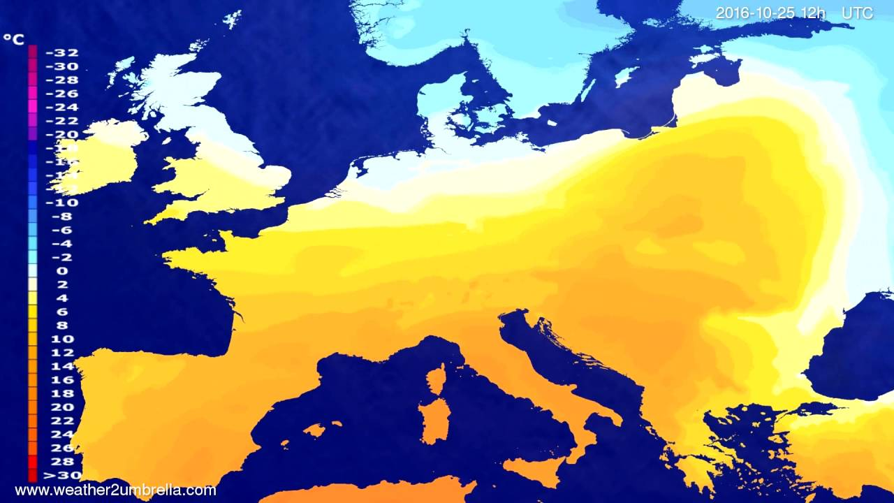 Temperature forecast Europe 2016-10-23