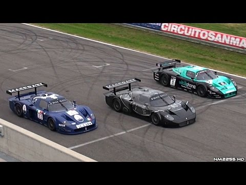 3x Maserati MC12 GT1 on Track – EPIC Sounds!