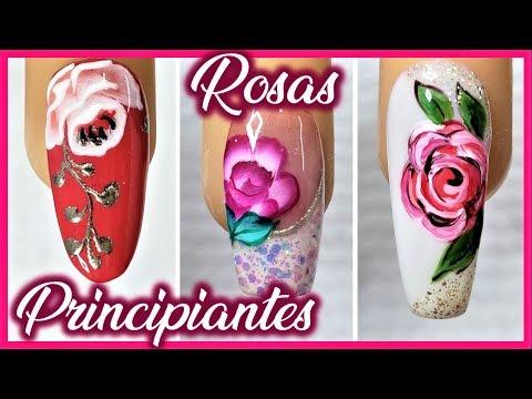 Uñas decoradas - Dibujar FÁCIL ROSAS en tus Uñas - 3 formas de hacer ROSAS en tus uñas - Dibujar FÁCIL flores en Uñas