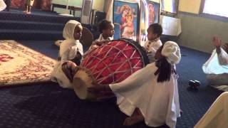 """Kids Sing Song in Ethiopian Orthodox Church """"very funny group drum"""" Oakland, CA."""
