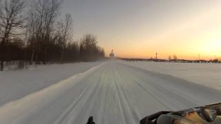 7. Snowmobiling into Gilman, WI on a Yamaha Apex XTX